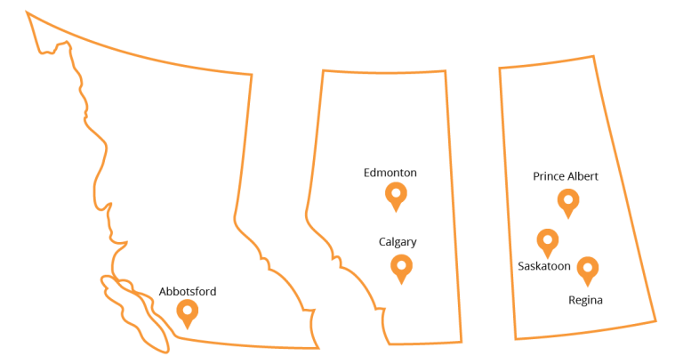 Map Of DriveNation's 7 Locations In Western Canada